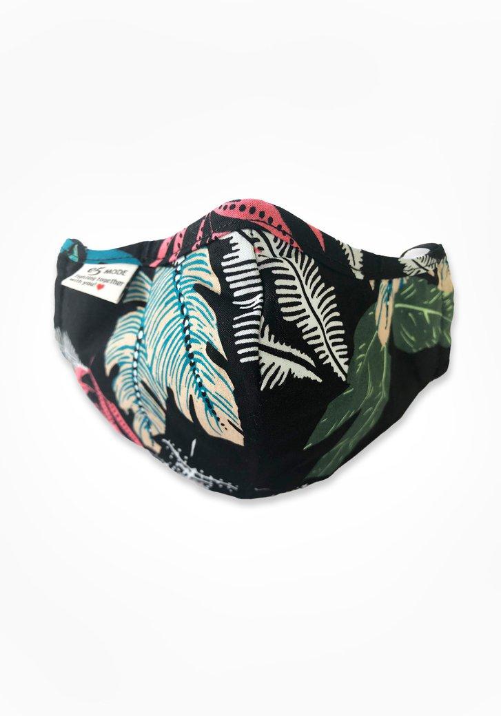 Stoffen mondmasker - zwart met gekleurde bladeren