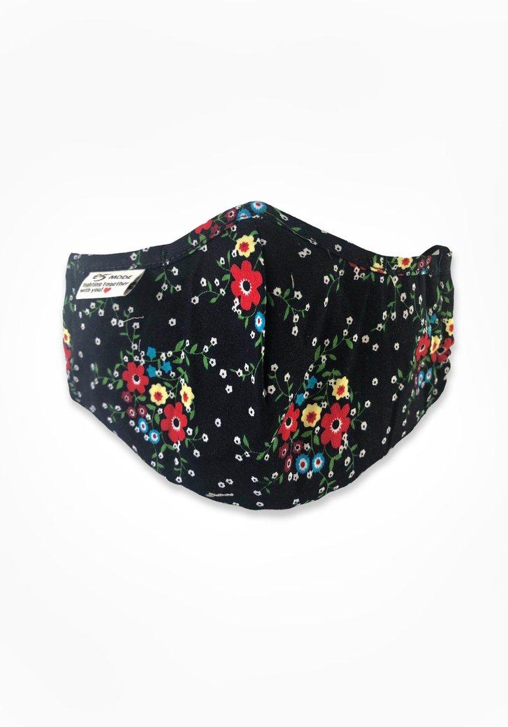 Stoffen mondmasker - zwart met gekleurde bloemen