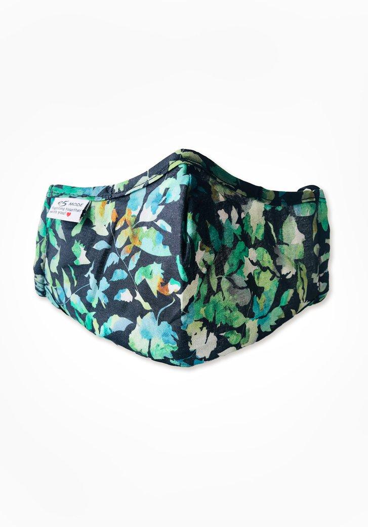 Stoffen mondmasker - zwart met groene bloemen