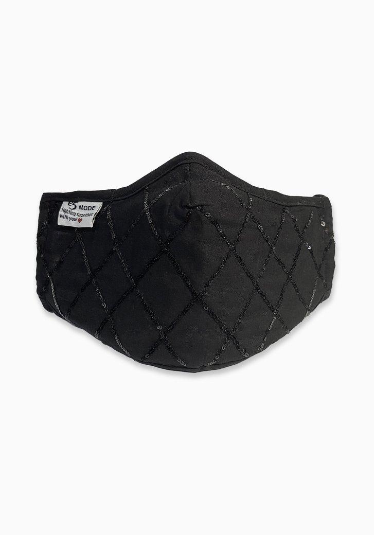 Stoffen mondmasker - zwart met pailletten