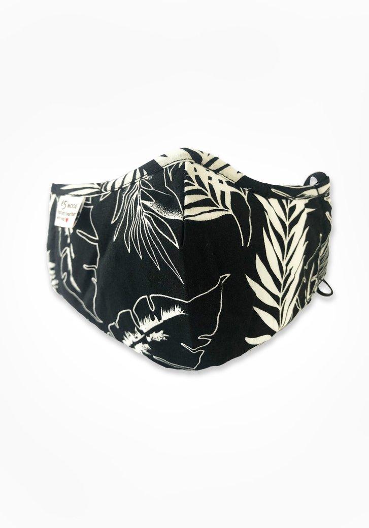 Stoffen mondmasker - zwart met witte bladeren