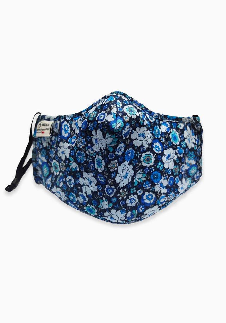 Stoffen mondsmasker - navy met blauwe bloemen