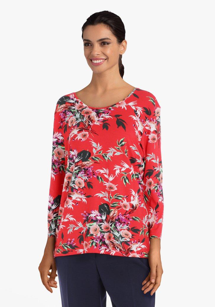 T-shirt à fleurs rouges en viscose