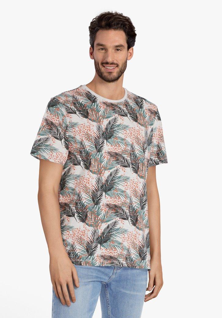 T-shirt à imprimé feuilles kaki-orange