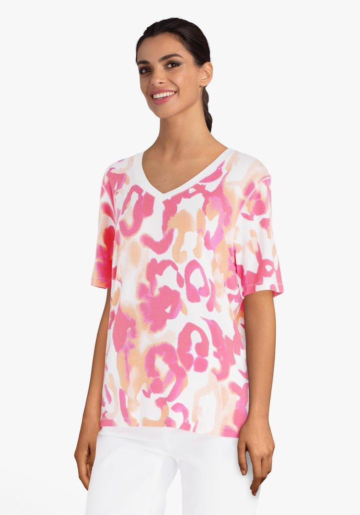 T-shirt à imprimé rouge corail et encolure en V