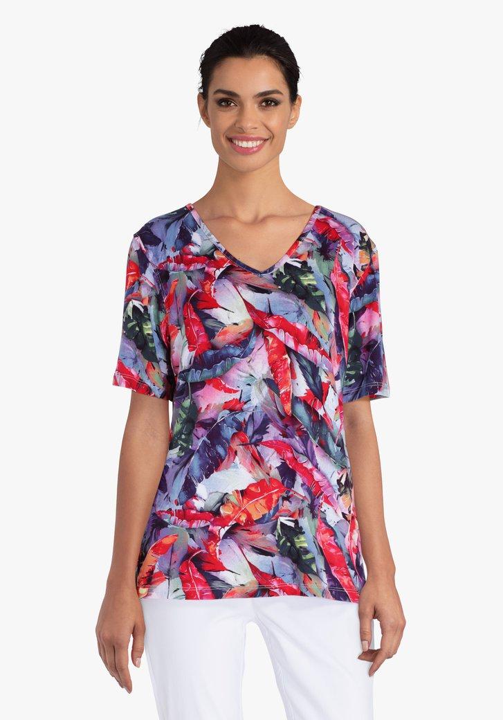 T-shirt à imprimé tropical bleu-rouge