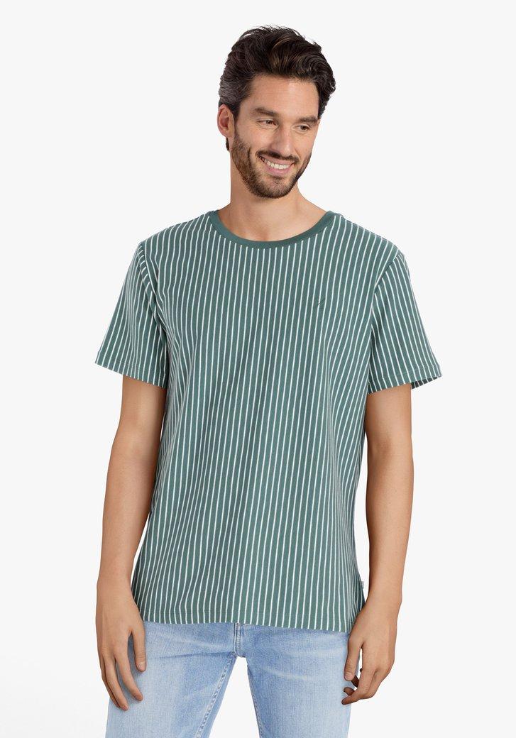 T-shirt à rayures vertes et blanches