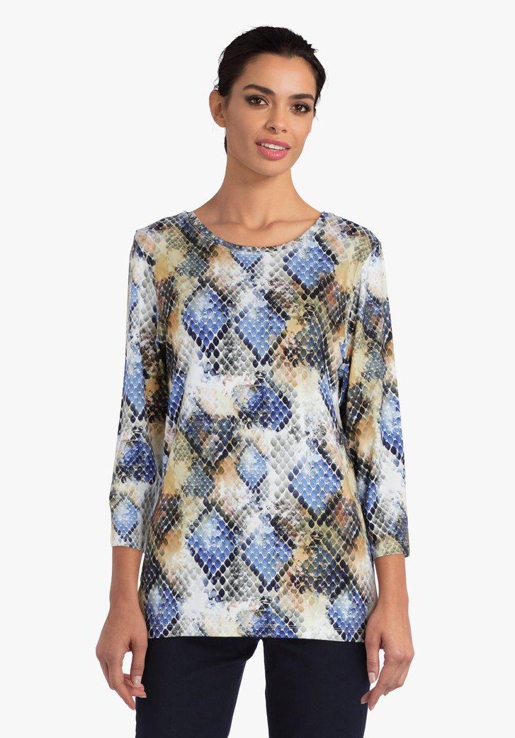 T-shirt avec impression serpent en bleu et ocre