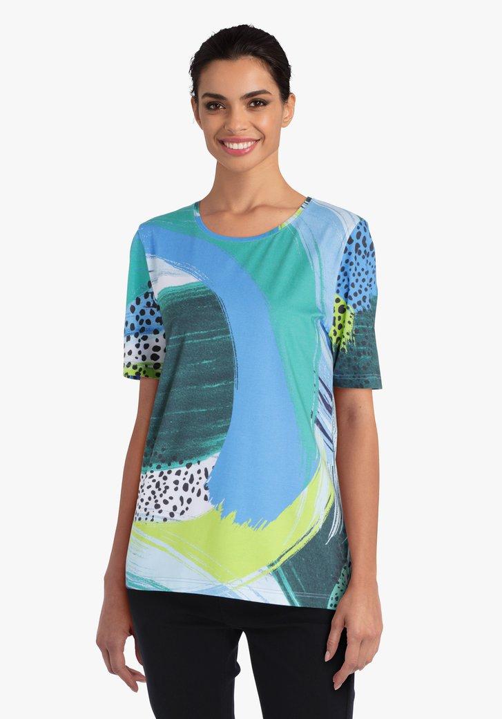 T-shirt avec imprimé bleu et vert