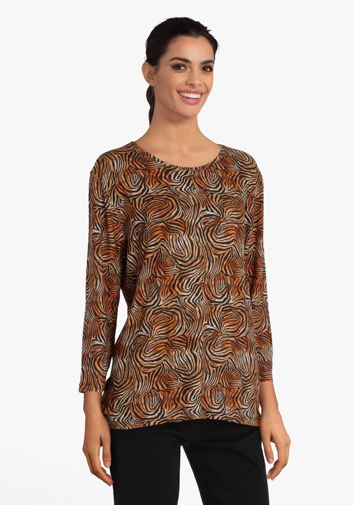 T-shirt avec imprimé tigre marron-orange