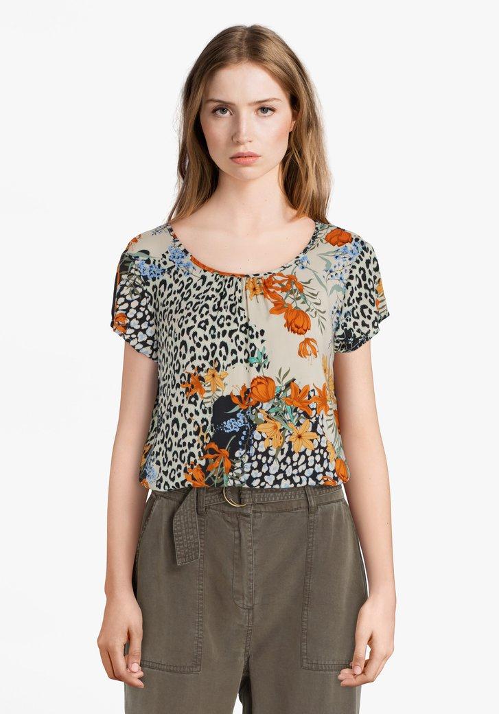 T-shirt beige clair avec motif à fleurs colorées