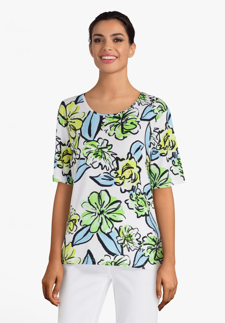 T-shirt blanc à fleurs vert vif