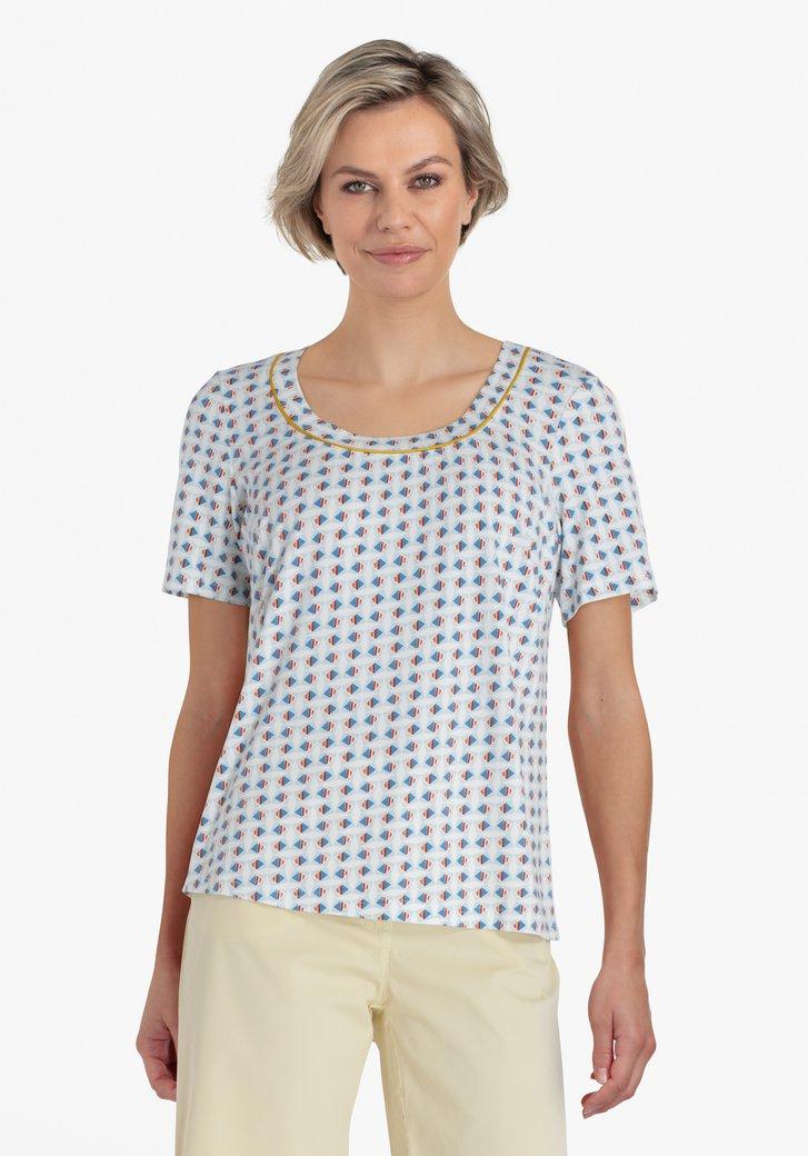 T-shirt blanc à imprimé bleu