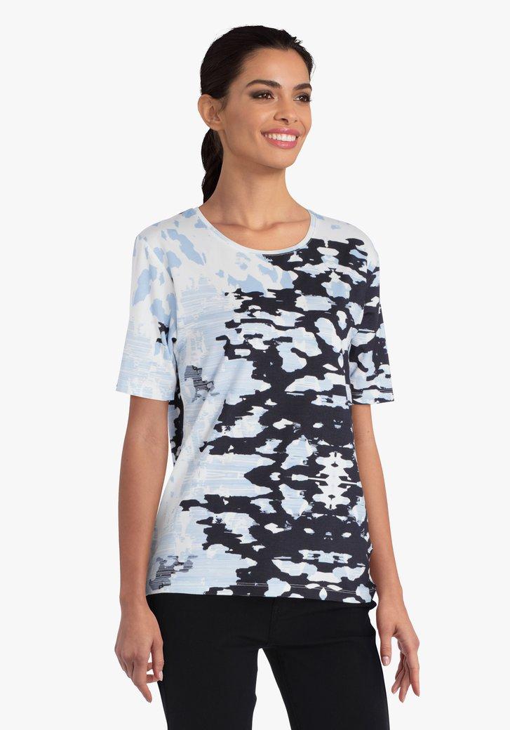 T-shirt blanc à imprimé bleu marine