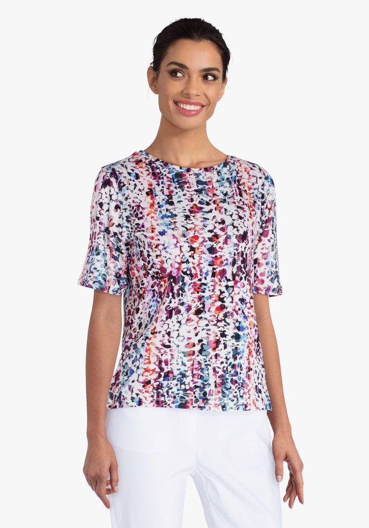 T-shirt blanc à imprimé coloré