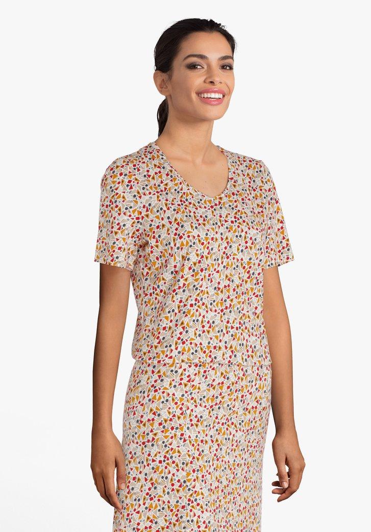 T-shirt blanc à imprimé en couleur