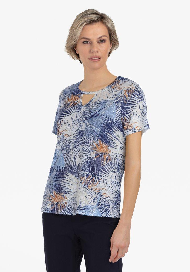 T-shirt blanc à imprimé floral bleu marine