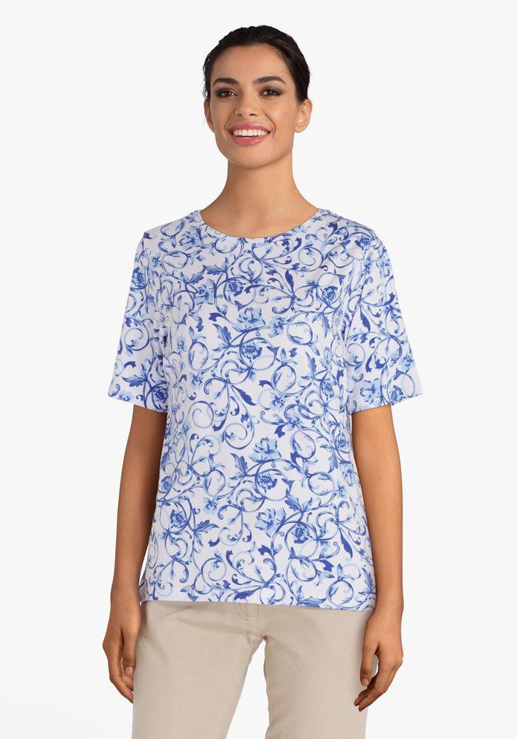 T-shirt blanc à motif bleue