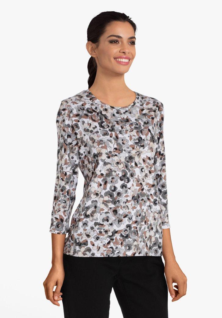 T-shirt blanc à motif floral léger