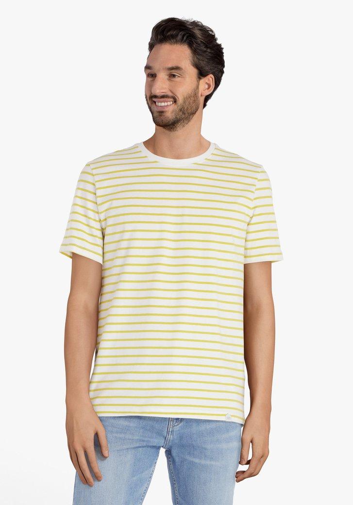 T-shirt blanc à rayures jaunes