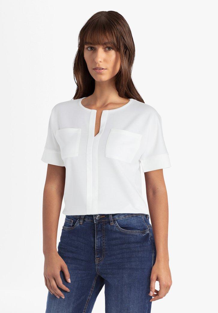 T-shirt blanc avec col en V