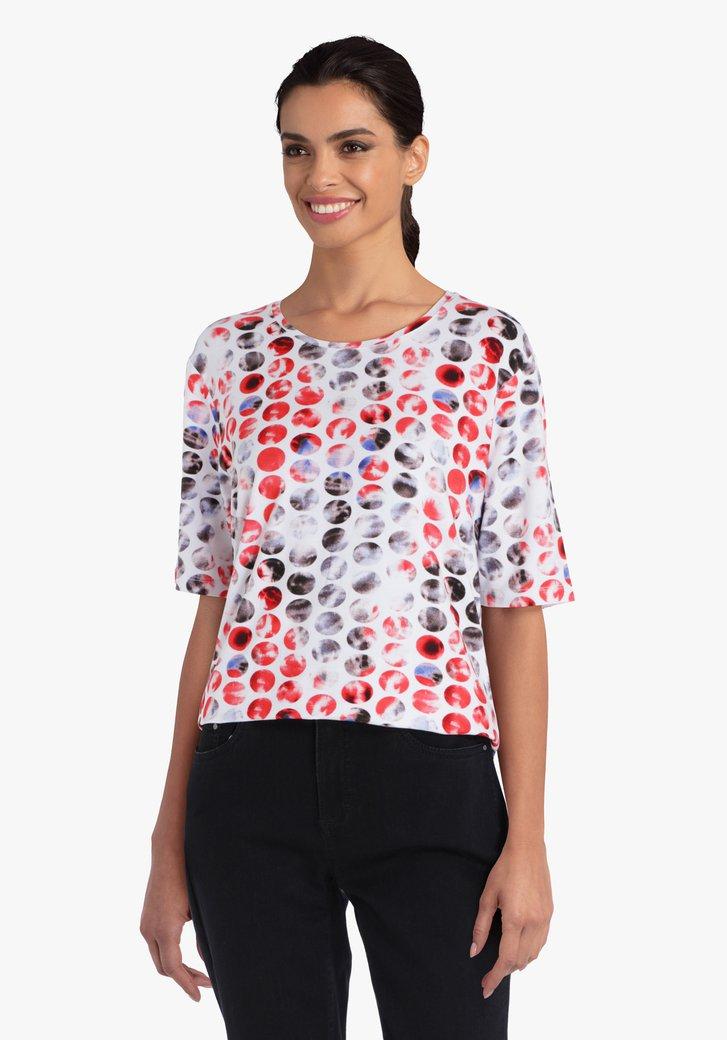 T-shirt blanc avec des cercles colorés
