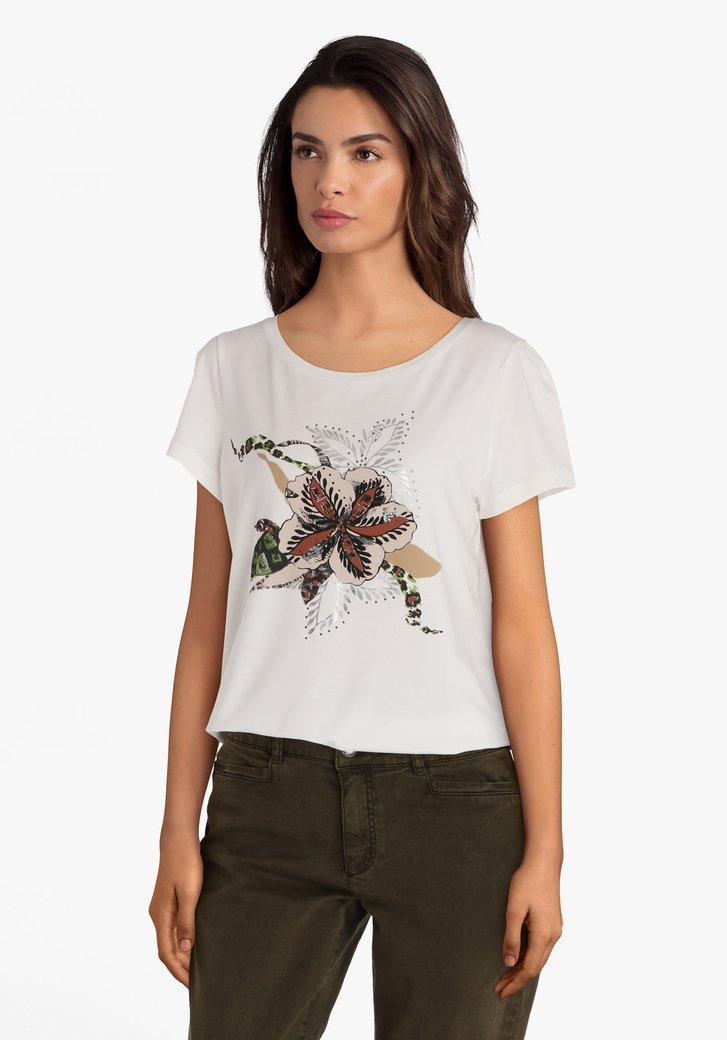 T-shirt blanc avec imprimé de fleur et strass