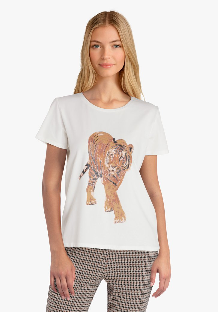 T-shirt blanc avec imprimé tigre