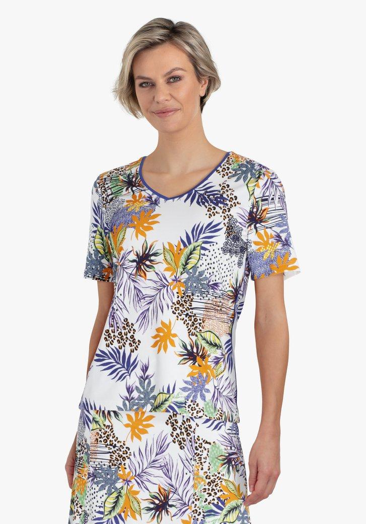 T-shirt blanc avec imprimé tropical coloré