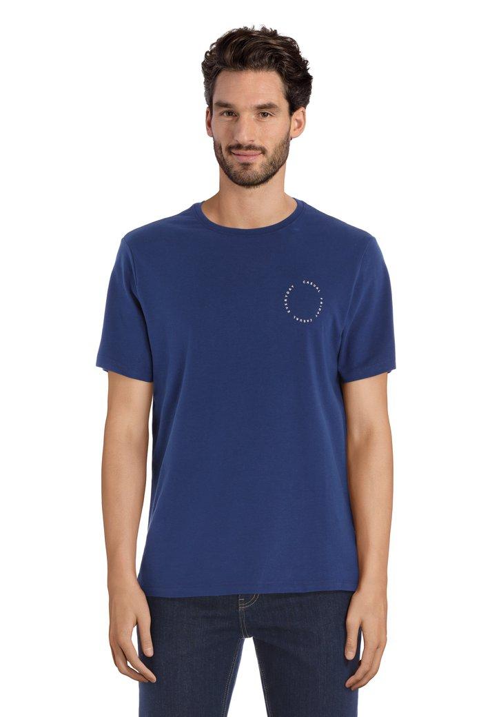 T-shirt bleu à col rond