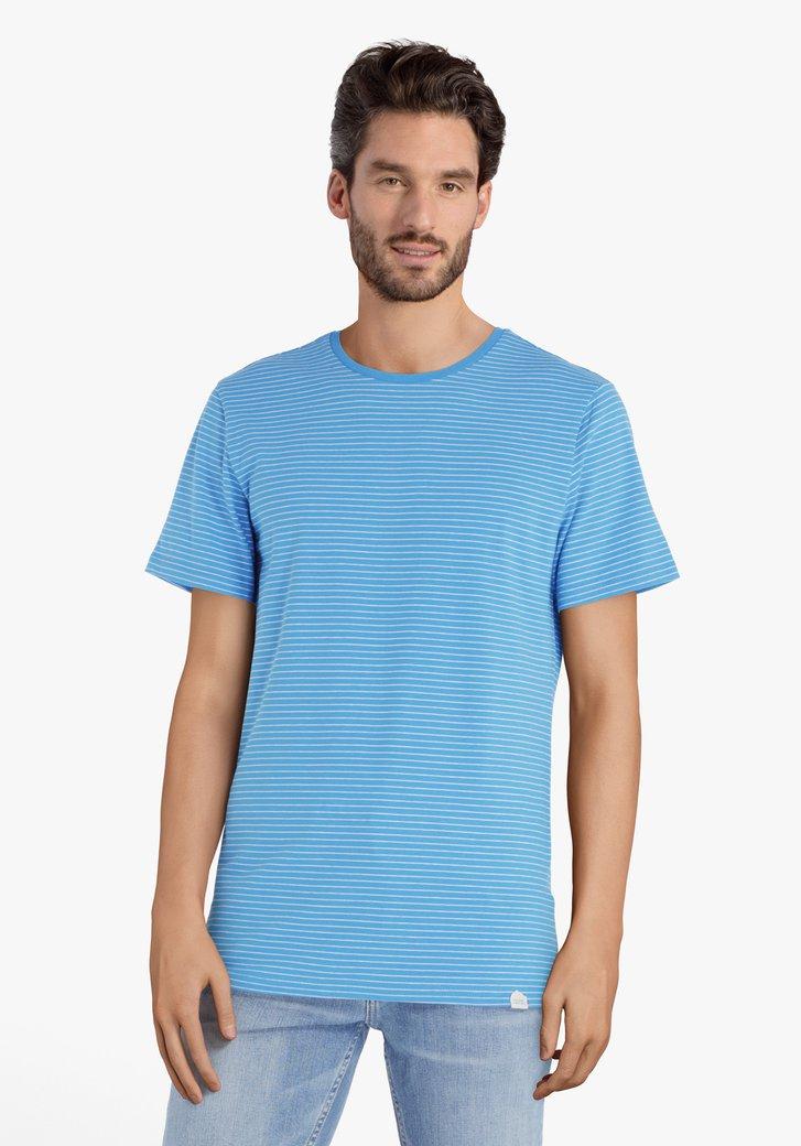 T-shirt bleu à rayures blanches
