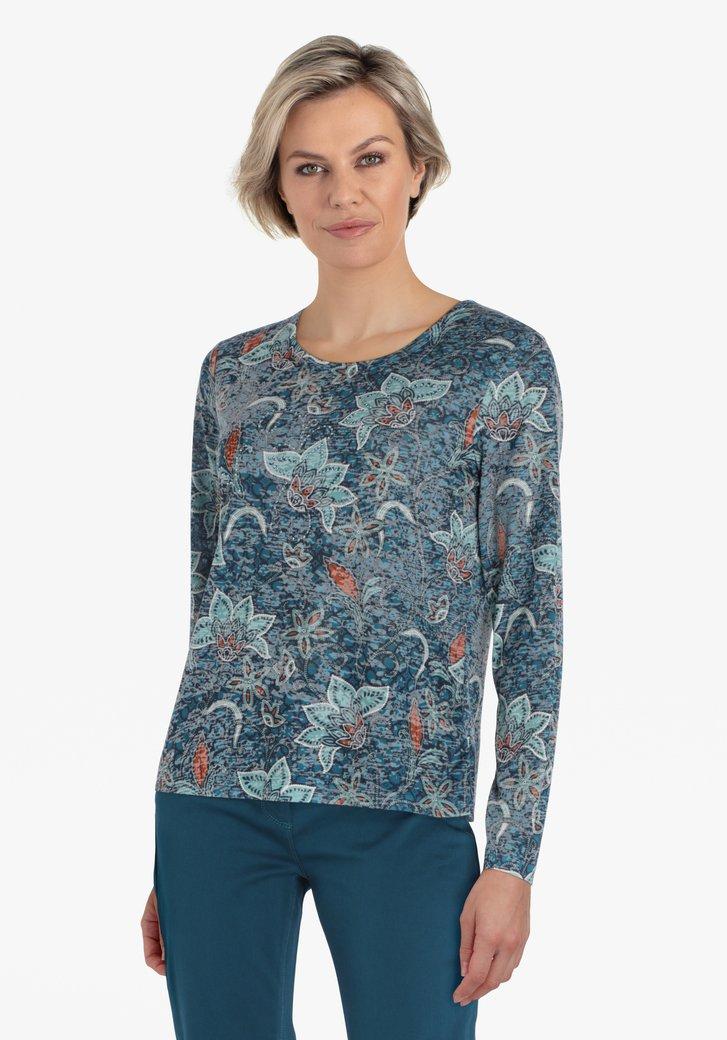T-shirt bleu acier à imprimé floral