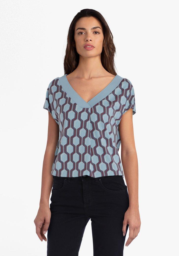 T-shirt bleu avec imprimé et col en V