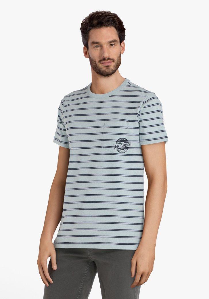 T-shirt bleu clair à rayures bleu foncé