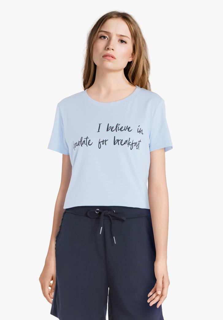 T-shirt bleu clair avec impression noire