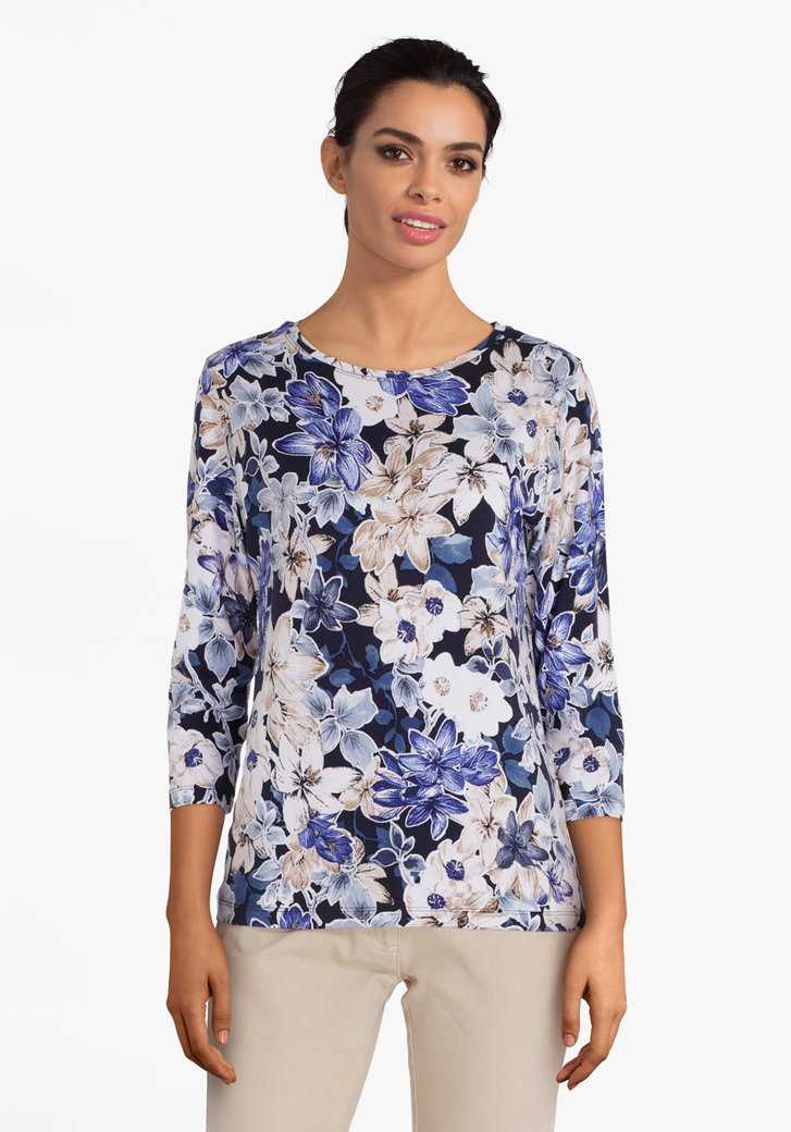 T-shirt bleu foncé à fleurs