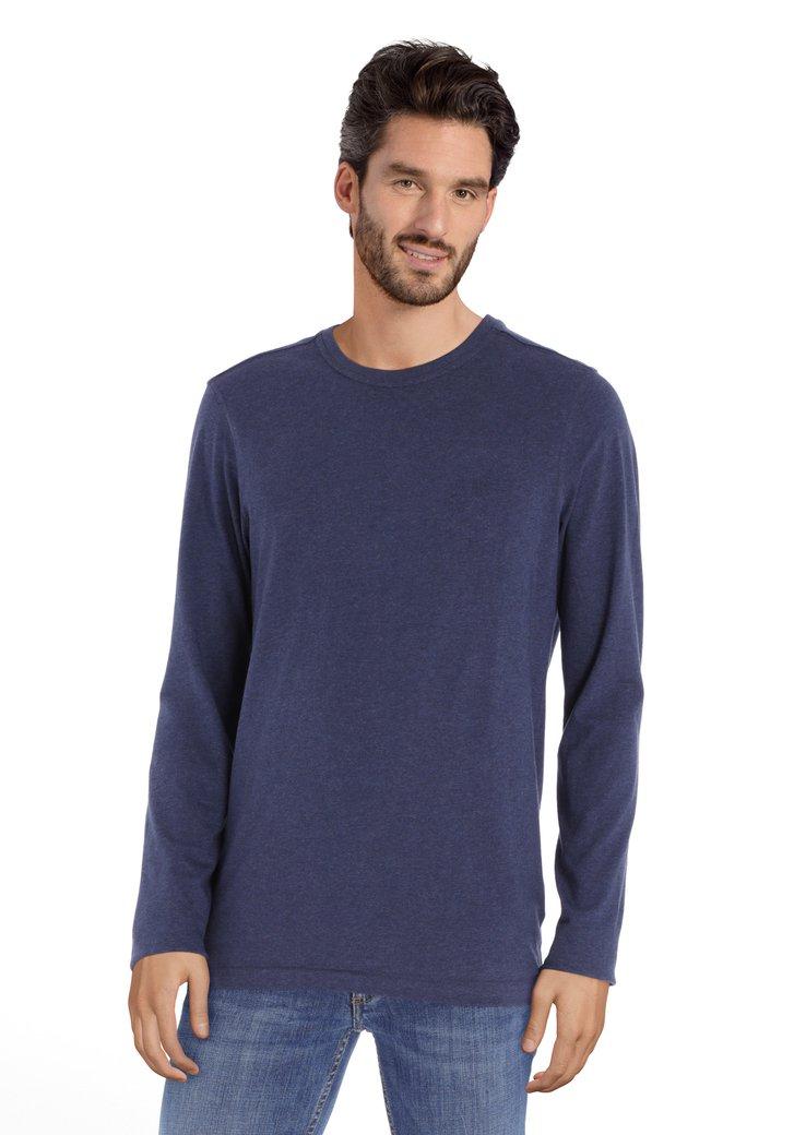 T-shirt bleu foncé en coton à col rond