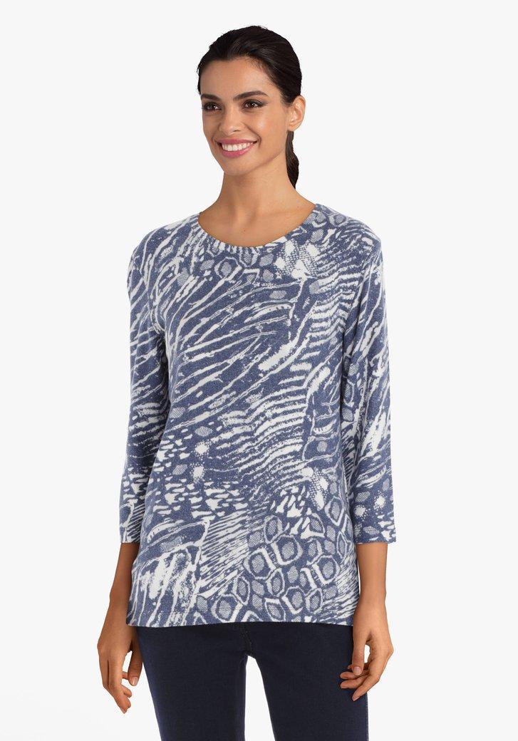 T-shirt bleu-gris à motif écru
