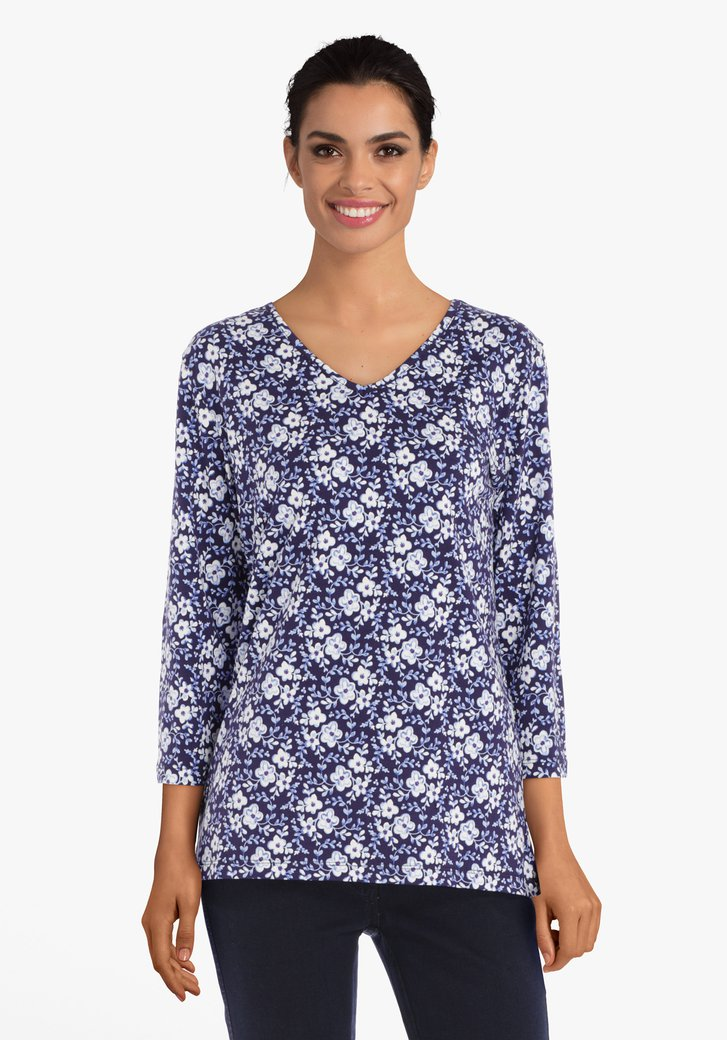 T-shirt bleu marine à fleurs écrues