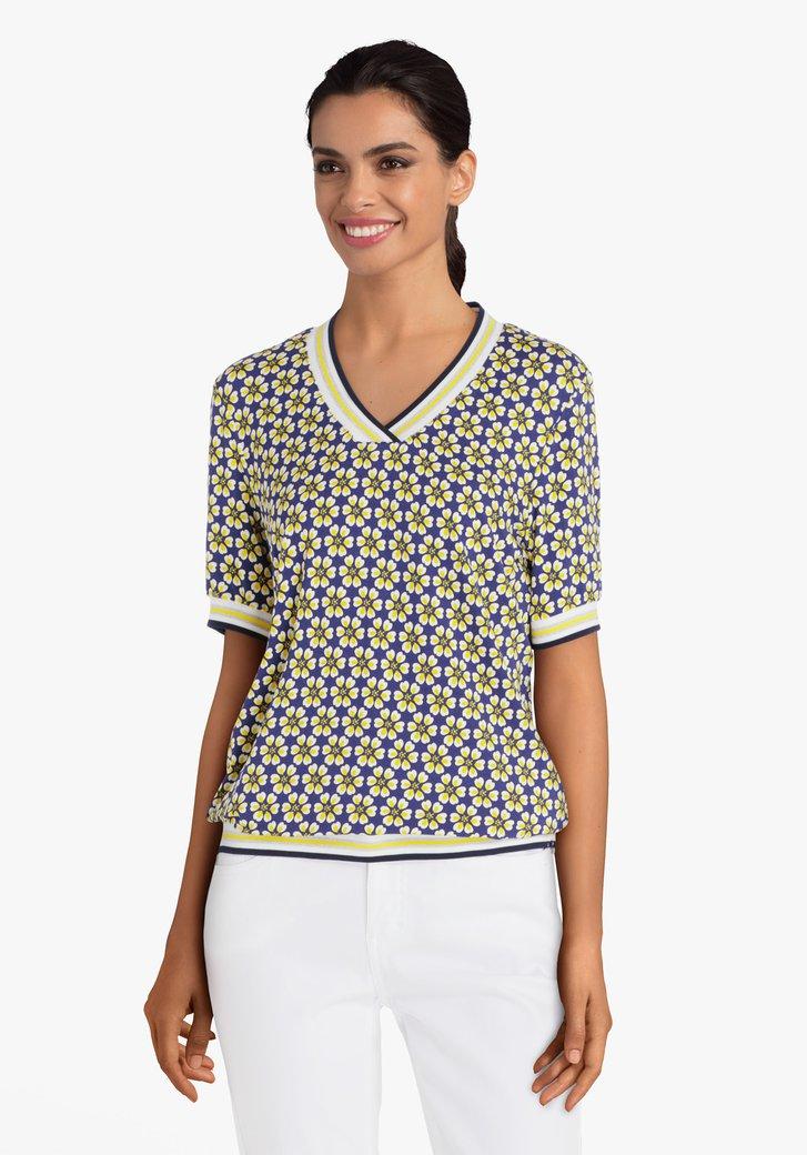 T-shirt bleu marine à fleurs jaunes