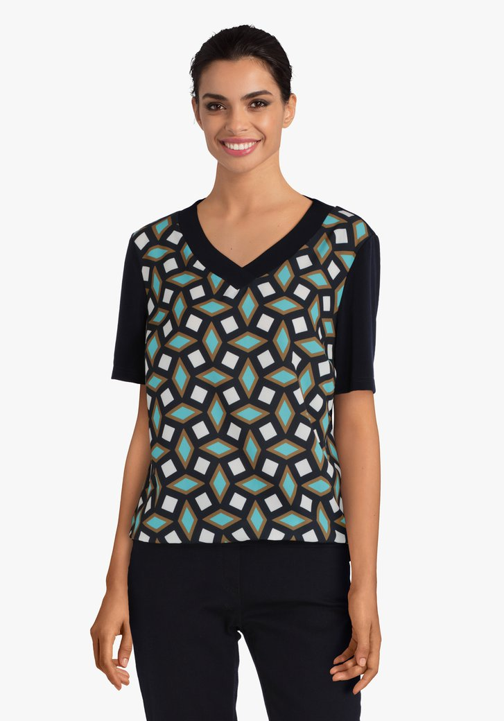 T-shirt bleu marine à impression géométrique verte
