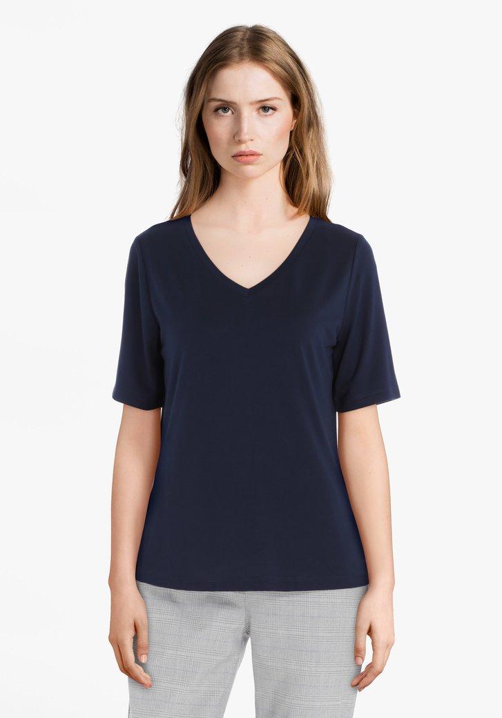 T-shirt bleu marine à manches 3/4 et col en V