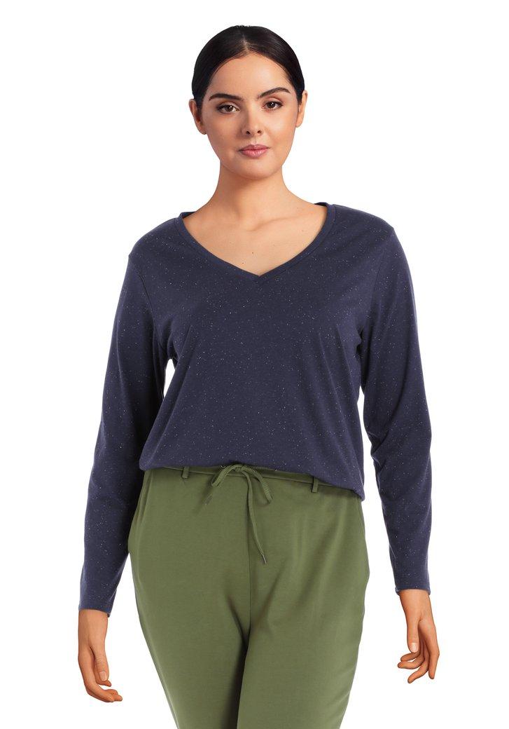 T-shirt bleu marine avec col en V et mouchetures