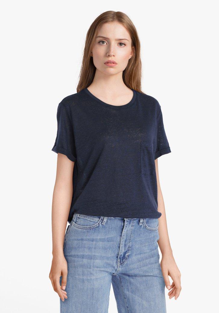 T-shirt bleu marine avec poche poitrine