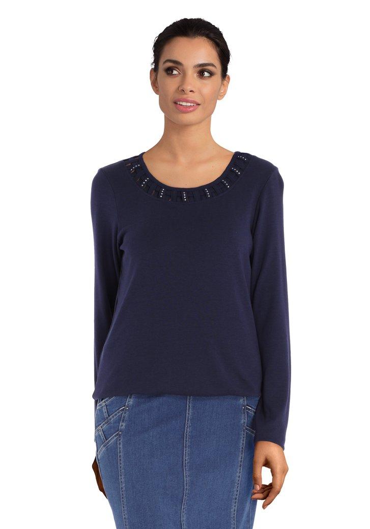 T-shirt bleu marine avec strass