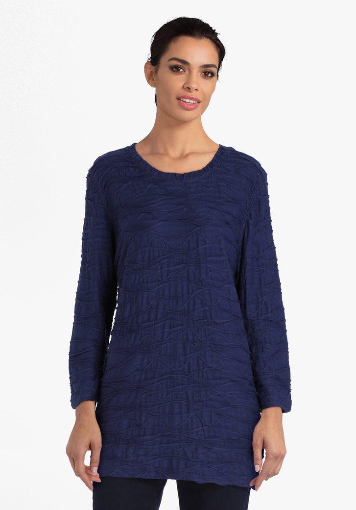 T-shirt bleu marine en tissu texturé