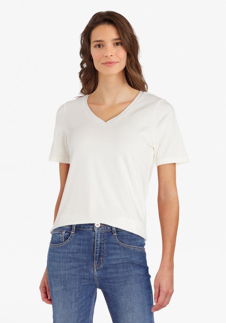 T-shirt écru avec col en V pailleté