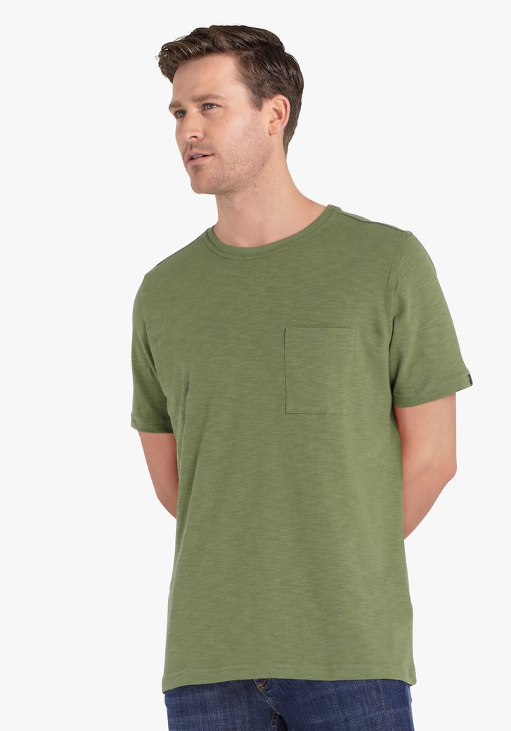 T-shirt en coton kaki avec poche sur la poitrine