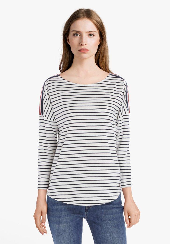 T-shirt en coton rayé blanc-bleu marine