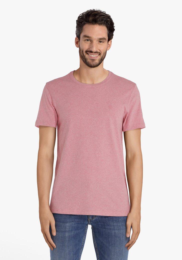 T-shirt en coton rose foncé à col rond